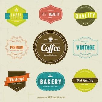 Café et boulangerie étiquettes