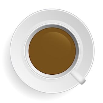 Café . café du matin en tasse et sur le dessus de la soucoupe.