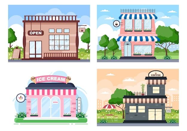 Café, café ou magasin de crème glacée illustration avec panneau ouvert, arbre et extérieur du magasin de construction. concept de design plat