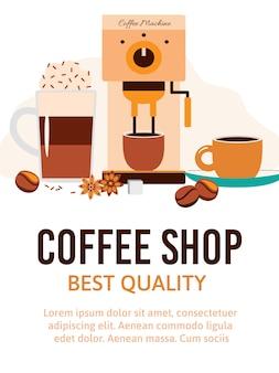 Café café ou magasin illustration vectorielle de dessin animé.