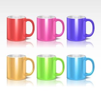 Café en céramique de couleur réaliste, ensemble de tasses à thé