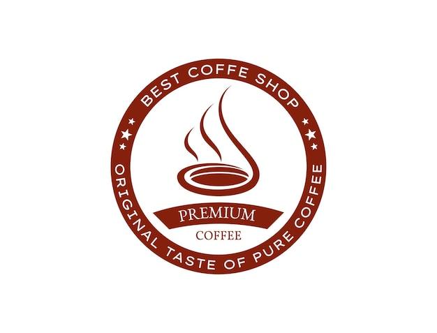 Café chaud délicieusement parfumé pour logo café rétro