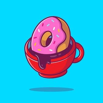 Café chaud avec illustration d'icône de dessert. concept d'icône de nourriture et de boisson isolé. style de dessin animé plat