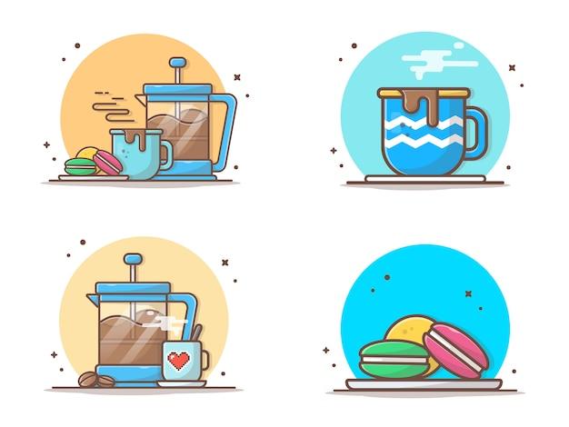 Café chaud avec des macarons et théière icône illustration