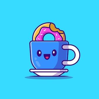 Café chaud mignon avec dessin animé de beignet