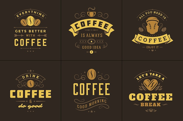 Café cite ensemble d'illustrations de phrases inspirantes de style typographique vintage