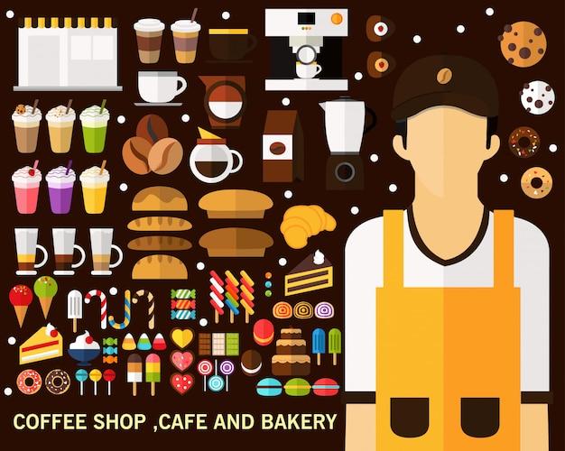 Café concept, concept de café et boulangerie. icônes plates