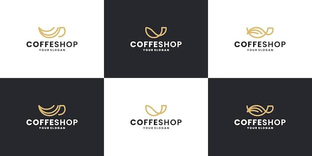 Café créatif avec des collections de création de logos de tasses à café créatives