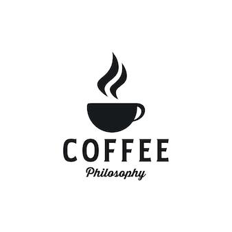 Café avec création de logo de philosophie dans un style vintage