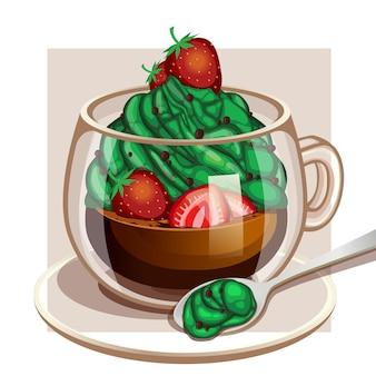Café crème matcha aux fraises en utilisant le format