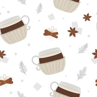 Café dans une tasse avec modèle sans couture de porte-gobelet tricoté. boisson de réchauffement traditionnelle d'hiver