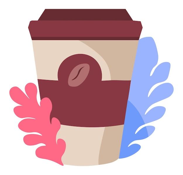 Café dans une tasse en plastique avec logo de haricot et fleurs