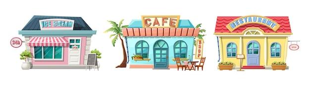 Café de dessin animé, restaurant et lieu de crème glacée.