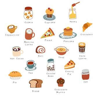 Café dessiné à la main, bonbons et pâtisseries