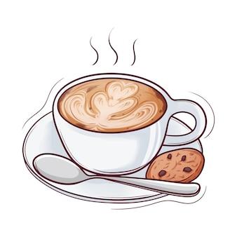 Café dessiné à la main avec cookie