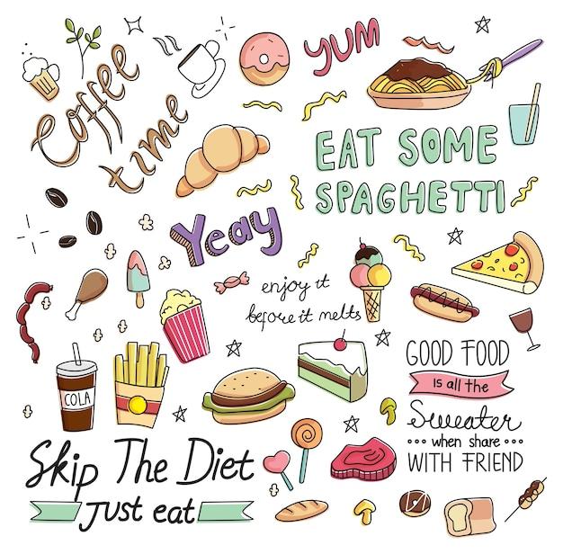 Café doodle fond avec divers aliments et boissons