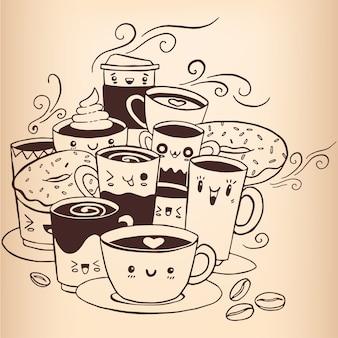 Café doodle vecteur de croquis dessinés à la main.