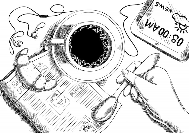 Café du matin et journal avec croissant