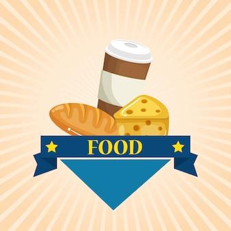 Café avec du pain et du fromage