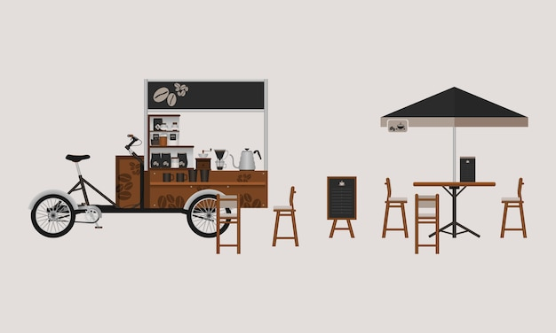 Café editable stand vector illustration
