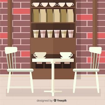 Café élégant intérieur avec un design plat