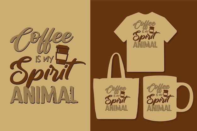 Le café est mon esprit animal typographie design de citations de café coloré