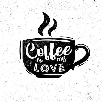 Le café est mon logo rétro d'amour