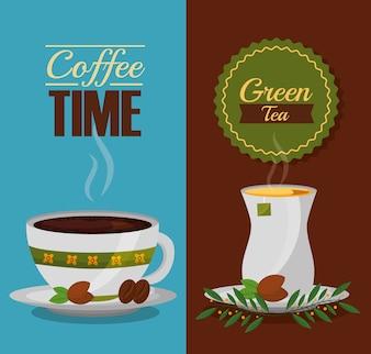 Café et thé temps tasses et feuilles design