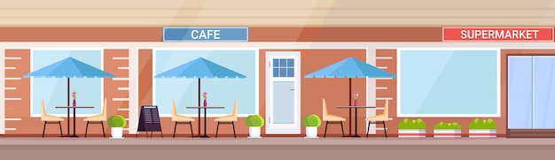 Café d'été moderne boutique extérieur vide aucun peuple rue restaurant terrasse cafétéria extérieure dans un supermarché bâtiment bannière horizontale plate