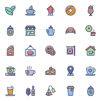 Cafe flat icons pack
