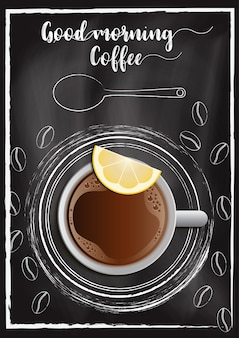 Café avec fond de tableau à la main dessiner style