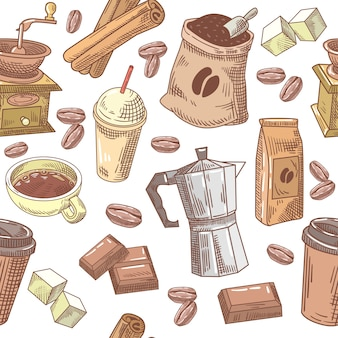 Café fond transparent dessiné à la main avec des haricots