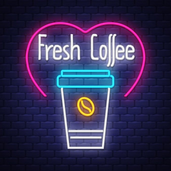Café frais enseigne au néon