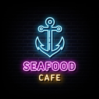 Café de fruits de mer enseignes au néon vecteur modèle de conception enseigne au néon