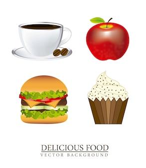 Café avec hamburger et gâteau sur vecteur fond blanc