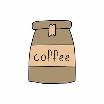 Café instantané dans un emballage en papier avec l'étiquette café. illustration vectorielle dans le style doodle.