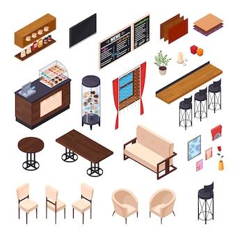 Café intérieur restaurant pizzeria bistro cantine éléments isométriques ensemble de meubles isolés et boutique affichent des images vector illustration