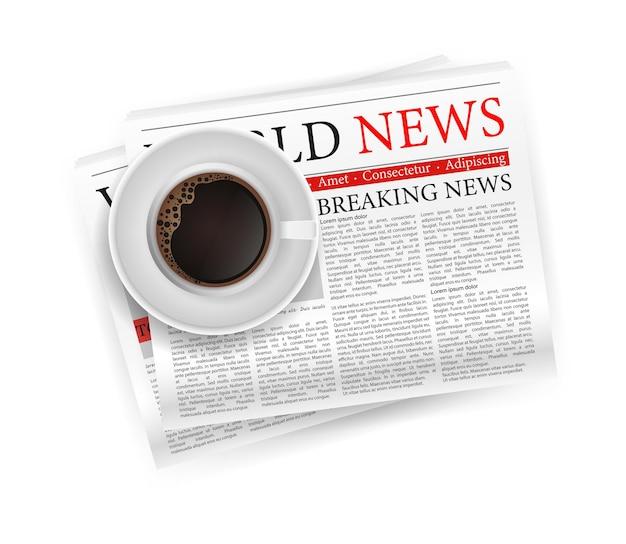 Café Avec Journal Dans Un Style 3d. B Vecteur Premium