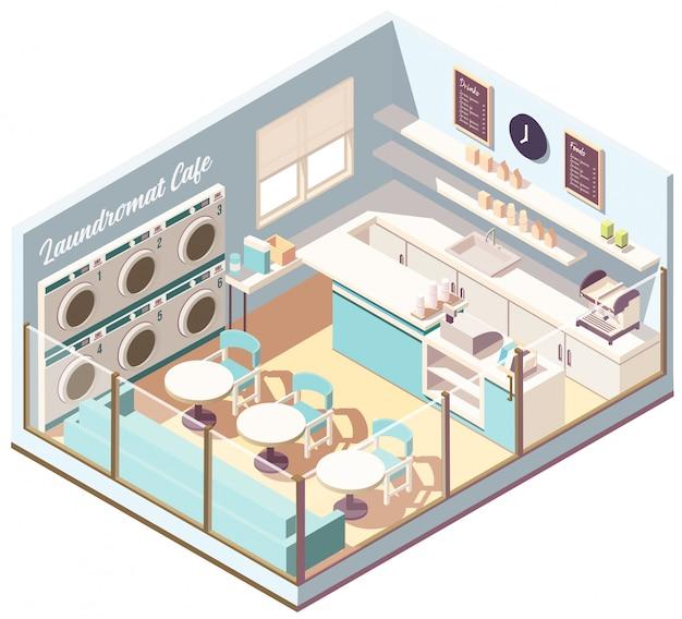 Café de laverie isométrique