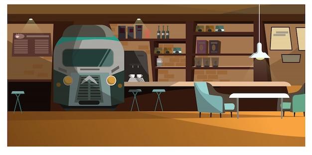Café loft avec illustration de design unique