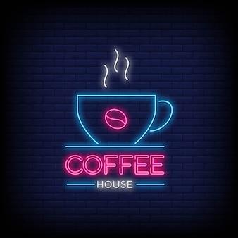 Café maison en symbole de style enseignes au néon