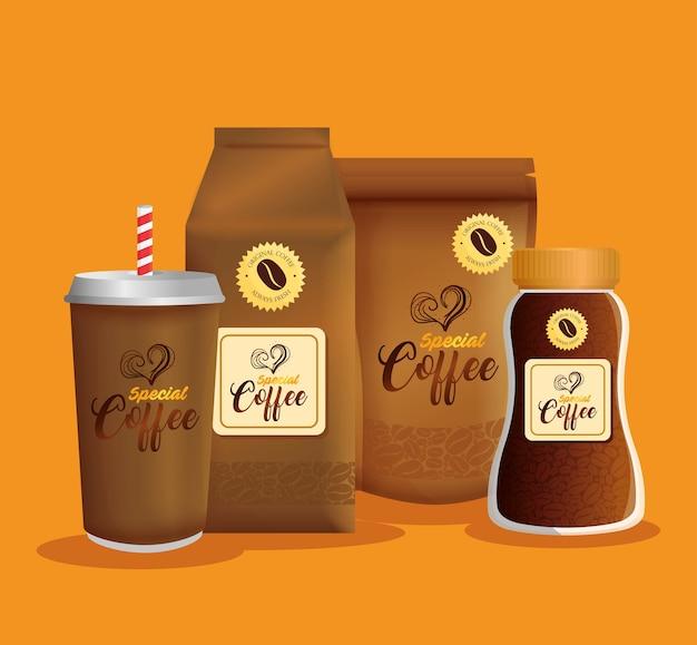 Café De Marque, Identité D'entreprise, Emballage Zip, Papier Sac, Jetable Et Bouteille De Café Spécial Vecteur Premium