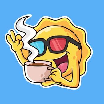 Café mignon de boisson de soleil