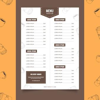 Café modèle menu café