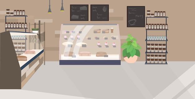Café moderne vide aucun restaurant de personnes avec vitrine cafétéria intérieur plat horizontal