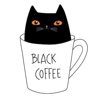 Café noir chat noir adorable chaton dans une tasse à café doodle cartoon style vector illustration