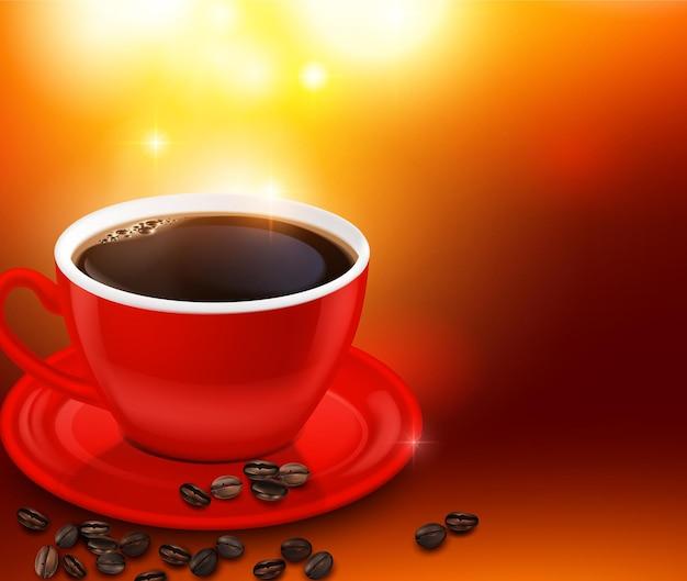 Café noir en tasse rouge et illustration de haricots