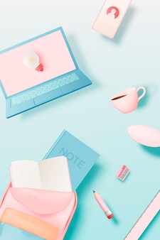 Café avec ordinateur portable et papeterie dans un style d'art relistique 3d avec illustration vectorielle de fond pastel