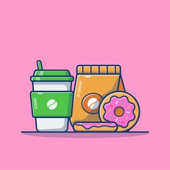 Café avec pack de café et dessin animé de beignets