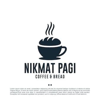 Café et pain, modèle de conception de logo